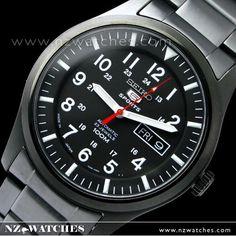 Seiko 5 Military Automatic 100m All Black Mens Watch SNZG17, SNZG17J1