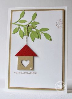 New homes, New home cards and Congratulations card on . Cool Cards, Diy Cards, New Home Cards, Welcome Home Cards, Congratulations Card, Greeting Cards Handmade, Handmade Valentines Cards, Creative Cards, Scrapbook Cards