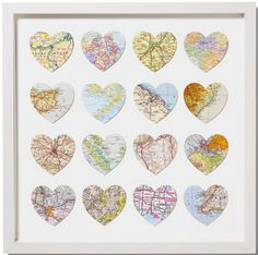 Paper Anniversary, put hearts from every place we've been