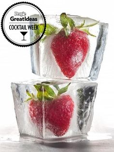 STRAWBERRY These ripe, red strawberries frozen in extra-large cubes are so gorgeous, they could be art — only they're too delicious not to e...