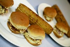 Barbecue Chicken Sliders With Pickled Onions and Grilled Corn With Honey Butter#Chicken Sliders