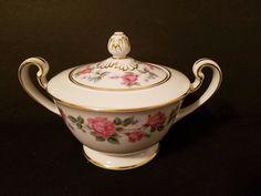 Vintage Noritake Japan Merida 516 Covered Sugar Bowl White Pink Roses Gold Trim
