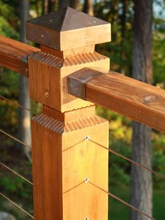 "January 2013 Photo Contest 2nd Place Winner: 1/8"" #CableRail installed in wooden frames for #deck railings and stair railings. Detail of post shown."