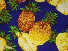Pineapple on Blue-Cotton Printed-Beach wear supply-Skirt fabric-Kitchen wear supply-Handcraft material-Napkin and table cloth fabric-1Y80cm by HeavenKnow on Etsy