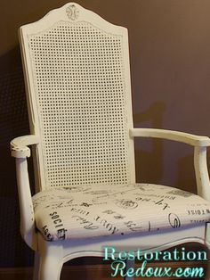 Chalky painted cane back chair makeover    http://www.restorationredoux.com/?p=1179