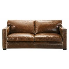 Leather sofa in brown, seats 3/4 - Dandy