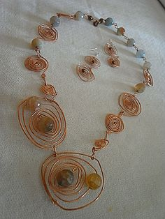 necklace & earring handmade by Copper wire