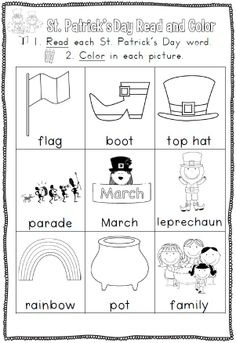 St. Patrick's Day Reading and Writing Printables