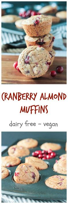 Cranberry Almond Muffins - dairy free and vegan!