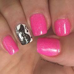 nice Rock guitar Music note nail art design...