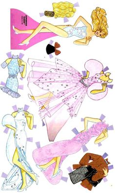 I loved these paper dolls ✄Barbie: Barbie Paper Dolls, Vintage Paper Dolls, Diy Paper, Paper Art, Paper Crafts, Paper Dolls Printable, Printable Crafts, Storybook Characters, Barbie Party