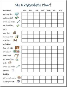preschool chore charts with pictures | Responsibility Chart Chore Chart / Preschool items - Juxtapost