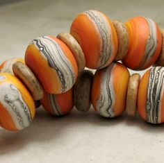 Lampwork Beads ,  Etched Organic Bead Set , 12  Bright Apricot Orange ...Hot Sun. $35.00, via Etsy.