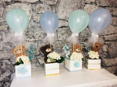 Boy Baby Shower Centerpiece Gold And Baby Blue Baby Shower Baby