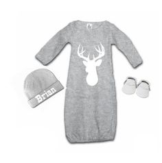 Boys Deer Head Tee Baby Gown Baby Boy Gown Coming Home