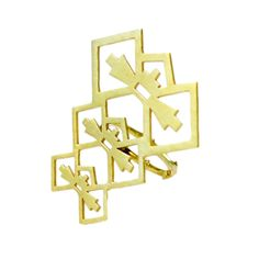 18ct Yellow Gold Plated Brass Bow, with 18ct Yellow Gold Plated Sterling Silver Ring    42 x 45mm  Weight - 6.3 grams