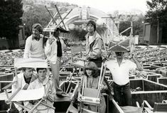 Eric Idle, Terry Jones, Terry Gilliam, Graham Chapman, Michael Palin, Carol Cleveland and John Cleese at the Hollywood Bowl, 1980.