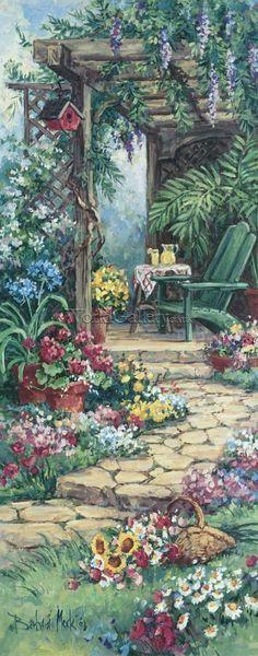 barbara Mock art   Garden Hideaway by Barbara Mock Art Print - WorldGallery.co.uk