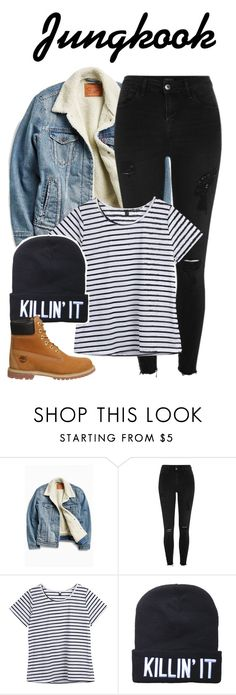 """Jungkook inspired look"" by baekyeoltaekook on Polyvore featuring Levi's, River Island, Timberland and nonroleplay"