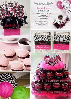 Hot Pink/Zebra Print Party Theme Zebra Birthday Decorations, Zebra Party Favors, Birthday Party Favors, Birthday Parties, Birthday Ideas, Themed Parties, Balloon Decorations, Zebra Print Party, Zebra Print Birthday