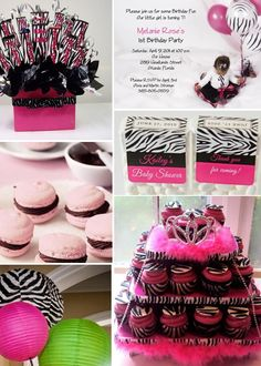 Hot Pink/Zebra Print Party Theme awesome ideas for nene pink and yellow princess girl baby shower