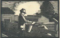 "By Herschel Logan.  ""Who-o-e-e""    Block print, 1930    4 x 6"