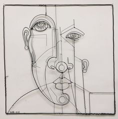 Wire Drawing, Gesture Drawing, Drawing Tips, Wire Wall Art, Art Drawings, Contour Drawings, Drawing Faces, Digital Painting Tutorials, Collage Artists