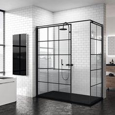 Workshop style italian shower screen in matt black - Salle de bain condo - Black Tile Bathrooms, Small Bathroom, Master Bathroom, Bad Inspiration, Bathroom Inspiration, Modern Bathroom Design, Bathroom Interior Design, Earthy Home Decor, Shower Screen