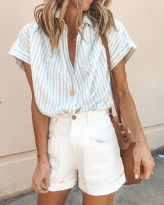 Summer outfit guide - Loose Women Turn down Collar Stripe Summer Blouses – Summer outfit guide Travel Outfit Spring, Spring Summer Fashion, Spring Outfits, Spring Ootd, Spring Vacation, Vacation Style, Summer Outfits Women, Summer Clothes For Women, Travel Ootd