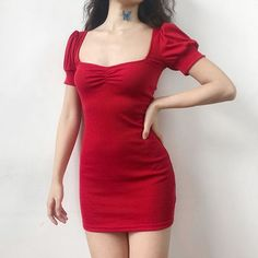 Slim-fit short-sleeved knit dress with chest folds · FE CLOTHING · Online Store Powered by Storenvy Prom Dresses With Sleeves, Simple Dresses, Sexy Dresses, Cute Dresses, Short Dresses, Edgy Dress, Korean Outfits, Aesthetic Clothes, Dream Dress