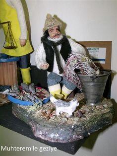 Kitre Bebek Clay Dolls, Art Dolls, Paper Clay, Miniatures, Diorama, Fishing, Handmade, Turkey, Porcelain