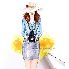 Summer fashionista illustration by Houston fashion illustrator Rongrong DeVoe, more fashion illustrations at www.rongrongdevoe.com