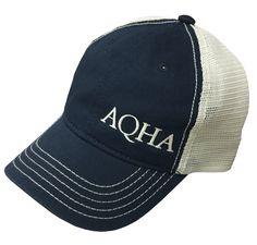 AQHA Off Center Navy and Tan Cap Horse Riding Clothes, American Quarter Horse, Horse Gear, Cap, Horses, Store, Accessories, Baseball Hat, Larger