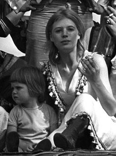 Marianne Faithfull and her son Nichoias Dunbar at the famous The Stones in the Park concert two days after the unforeseen death of Rolling Stones founding member Brian Jones, July 5th 1969