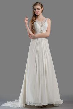 A-line Chapel Train Chiffon Beach Wedding Dress JSWD0156