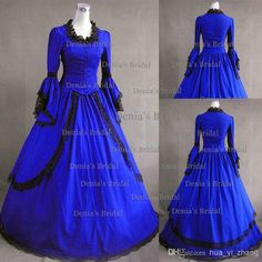 Wholesale Victorian - Buy 2014 Vintage Ball Gown Long Sleeves Gothic Lolita Cosplay Victorian Bridal Dress Floor Length Royal Blue Black Lace Wedding Dresses Dhyz 01, $110.51 | DHgate