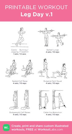 Leg Day · WorkoutLabs Fit - Gym workout plan for women - Pilates Workout Routine, Workout Plan Gym, Planet Fitness Workout Plan, Gym Workout Plan For Women, Leg Day Workouts, Gym Workout For Beginners, Monday Workout, Free Weight Leg Workout, Thighs