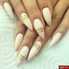 Beige with Gold lines, Stiletto Nails :)