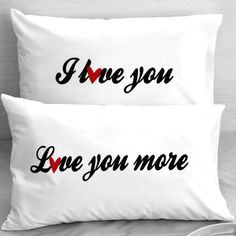 """Say it in the bedroom with """"I Love You"""" """"Love you more"""" design.  Artfully crafted in our Florida Keys Studio. A perfect gift for the classy couples, newlyweds, anniversary, Valentine's day, Boyfriend or Girlfriend or for yourself!    We have a large selection of Custom Pillowcases! To view them all, click on Custom-PillowCases-by-StockingFactory right under the title on top of the page.       The design is printed by special water based process directly into the fibers of..."""