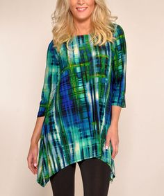 Loving this Blue & Green Abstract Sidetail Tunic on #zulily! #zulilyfinds