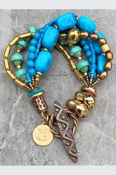 CAPIZ UNIQUE HAND CRAFTED MULTI BEAD STRAND SCULPTED HOOPS BOHO GLAM NECKLACE