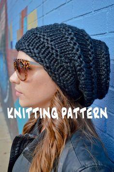 Knit Hat Pattern Knitting Pattern ROCKER HIVE BEANIE Knitted