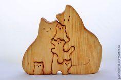 Wooden puzzle for toddlers / Развивающие игрушки ручной работы. Ярмарка Мастеров - ручная работа. Купить Семейство котиков. Handmade. Котик, котики, кот, котенок