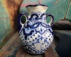 Medium Sized Mexican Vase Blue White Talavera Pottery, Southwestern Rustic Kitchen Home Decor