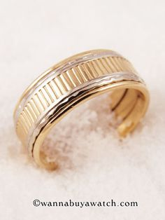 14K Yellow & White Gold - 1930's wedding band 14K Y/W gold 7.5mm Size 7 1/2  Stk# 31773