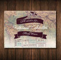 Travel Theme Retirement Party Invitation by RoseColoredGraphix