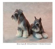 Miniature Flocked Art dogs by Kerri Pajutee.