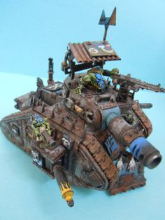 Looted Wagon, Orks, I love the rust effect. Who wouldn't love a bunch of rusty imperial guard tanks that are defending a planet till they die