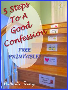 Printable set to teach kids the 5 steps to a good Confession. Great for first Reconciliation prep!