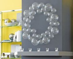 DIY:  How to Make a Mod Bubble Wreath with Clear Glass Bubble Balls.